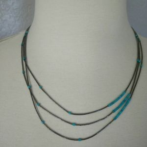 Layered turquoise silver tone necklace